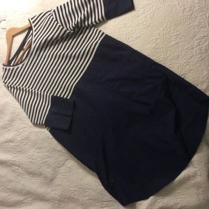 Women's COS navy & white striped dress